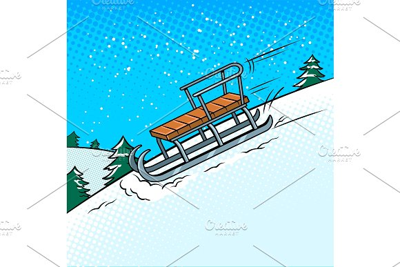 Sledge slide down hill pop art vector illustration