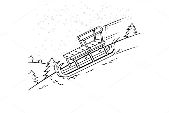 Sledge slide down hill coloring book vector in Illustrations