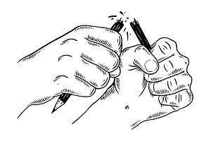 Hands break pencil engraving vector illustration