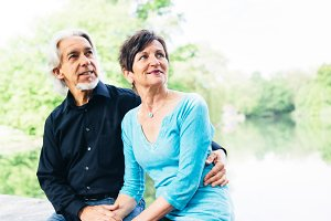 Senior Couple Relaxing By The Lake, T�bingen, Germany