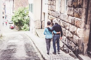 Senior Couple Walking Through Tuebingen