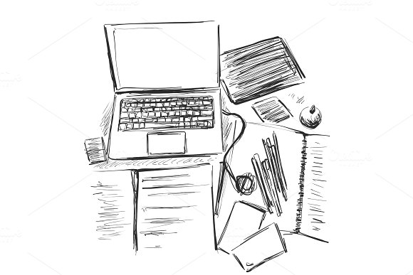 Workplace organization,stationery elements on table. Sketch office work desk. Business,school consept. Computer. in Illustrations