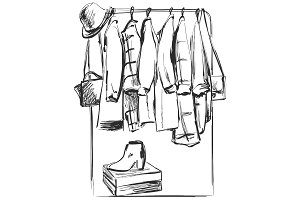 Hand drawn wardrobe sketch. Furniture. Clothes on the hanger