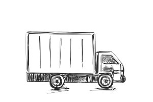 Sketch logistics and delivery poster. Hand drawn vector illustration