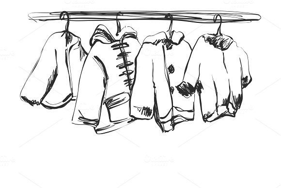Hand drawn wardrobe sketch. Baby clothes on the hanger.