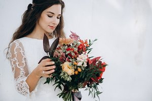 Amazing bride with her bouquet