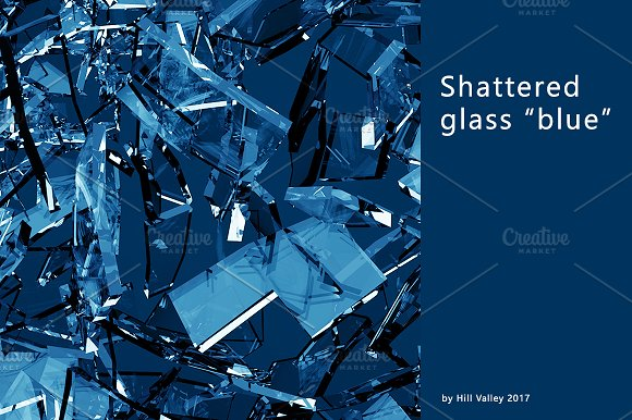 Blue shattered glass - 6 backgrounds in Objects