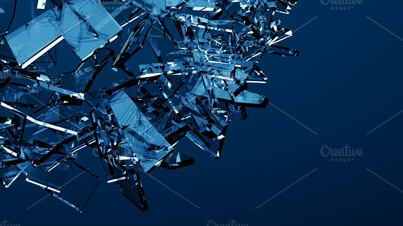Blue shattered glass - 6 backgrounds in Objects - product preview 5