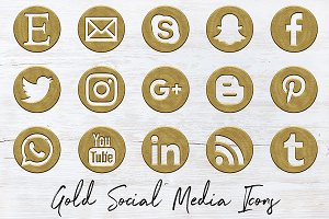 Antique Gold Social Icons Set