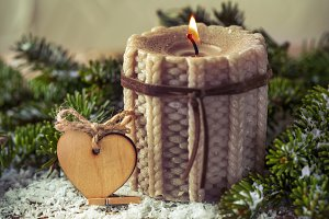 knitted Christmas candle