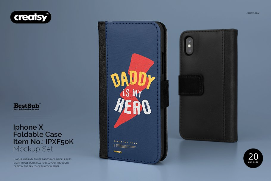iPhone X Foldable Case Mockup Set in Templates