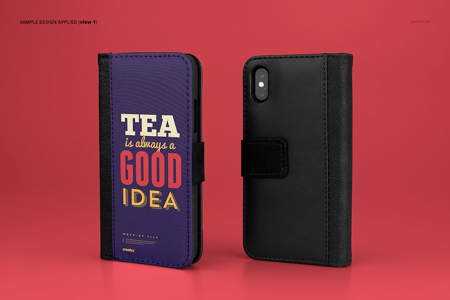 iPhone X Foldable Case Mockup Set in Templates - product preview 3