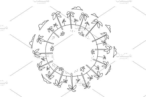 Round illustration palm island travel tourism holidays world planet. Place for text. Hand drawn vector stock illustration.
