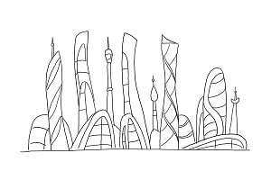 Invented city fantastic incredible and utopian skyscraper sketch high-rise buildings. Hand drawn vector stock illustration. Future architecture landscape. Extraterrestrial civilization