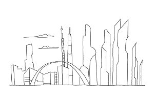 Big city skyscraper future sketch. Hand drawn vector stock line illustration. Building architecture landscape. Business center.