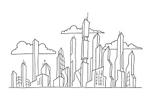 Big future city skyscraper sketch high-rise buildings. Hand drawn vector stock line illustration. Modern architecture landscape.