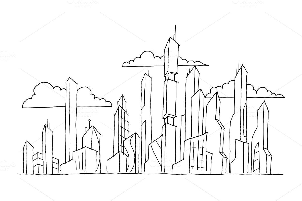 Big future city skyscraper sketch high-rise buildings  Hand drawn vector  stock line illustration  Modern architecture landscape