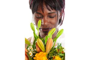 African Woman With Flowers