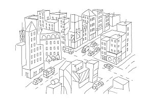 City street Intersection sketch. Traffic road view. Cars end buildings top view. Hand drawn vector stock line illustration.