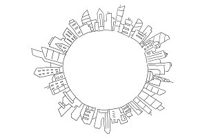 City panorama drawing in circle round. Place for text. Hand drawn sketch vector stock line illustration. Building architecture landscape.