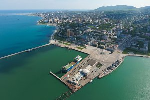 Top view of the marina and quay of Novorossiysk. Urban landscape of the port city
