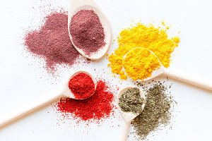 colorful spices close up