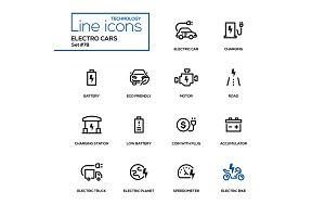 Electro cars - line design icons set