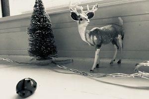Vintage Reindeer Ornament on Ledge