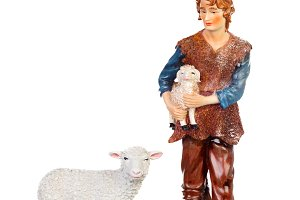 Figure of the shepherd with a sheep