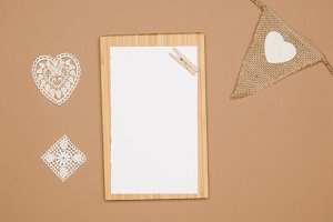 Brown, White Lace, White Paper