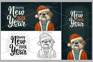 Dog Santa claus in hat, coat. Happy New Year lettering