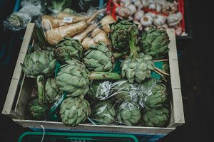 Fresh artichokes at city market