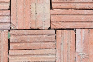 Brown brick tiles.