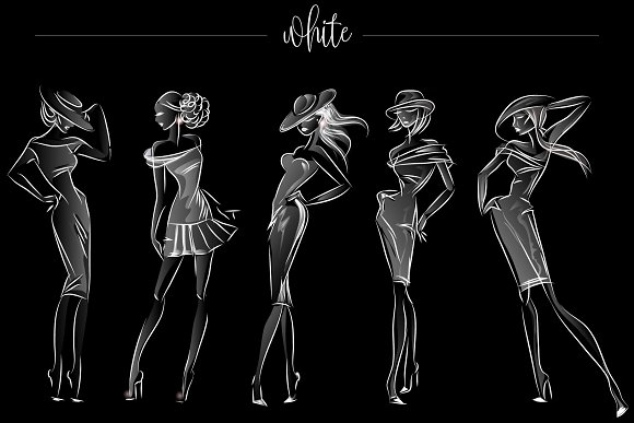 Fashion silhouettes for logo & brand in Illustrations - product preview 4