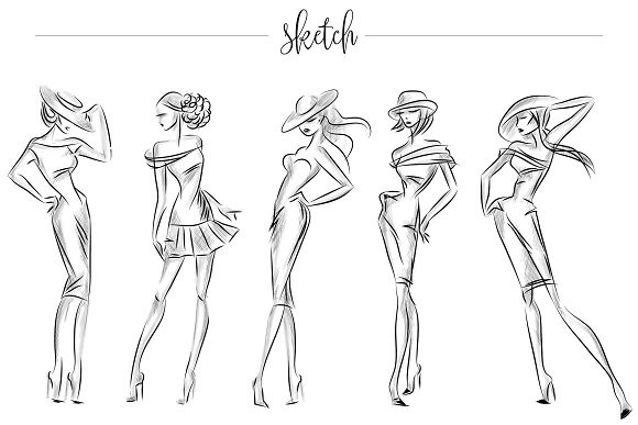 Fashion silhouettes for logo & brand in Illustrations - product preview 5