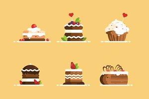 Sweet cake desserts set