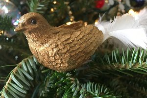 Golden Bird on a Branch Ornament