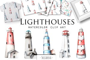 Lighthouses. Watercolor clip art.