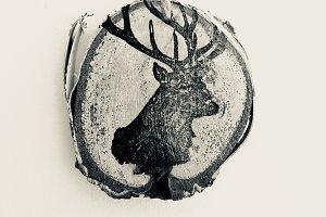 Deer Stamp on Birch Bark - BW