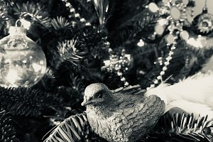 Vintage Bird in Christmas Tree - BW