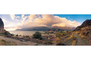 Landscape Shot Of Crete's Southern Coast, Greece