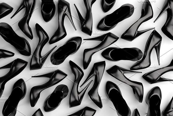 Lots Of Black Shoes Computer Render