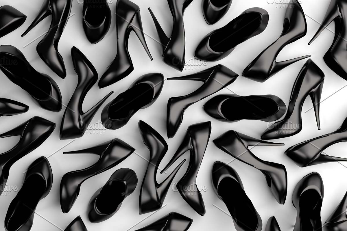 Lots of Black Shoes, Computer Render in Illustrations