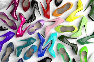 Lots of Colorful Shoes, Computer Render