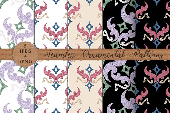 ORNAMENTAL seamless patterns and PNG
