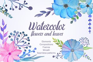 Set: Watercolor flowers and leaves