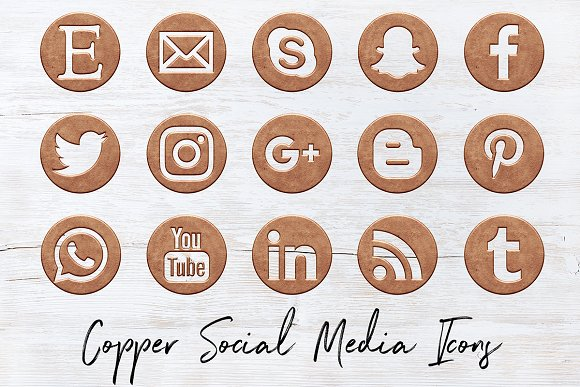 Vintage Copper Social Icons Pack