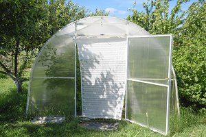 Greenhouse polycarbonate in a private garden