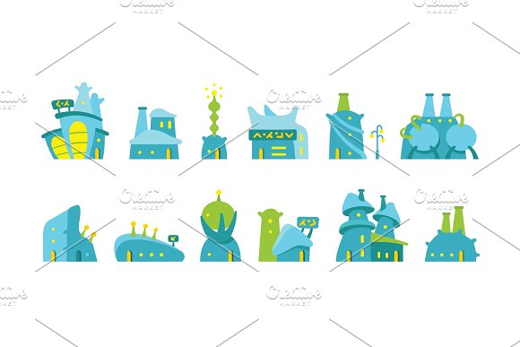 City future fantastic Set of alien buildings for game design. Vector stock illustration.