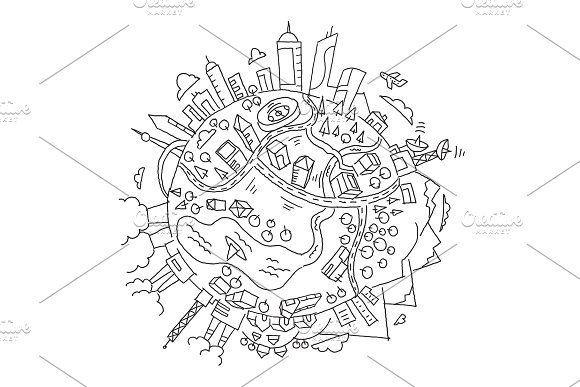 Round illustration world planet Earth. The city, the mountains the factories and buildings. Hand drawn vector stock outline illustration.